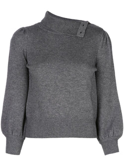 Co. Fold Over Collar Sweater in Grey