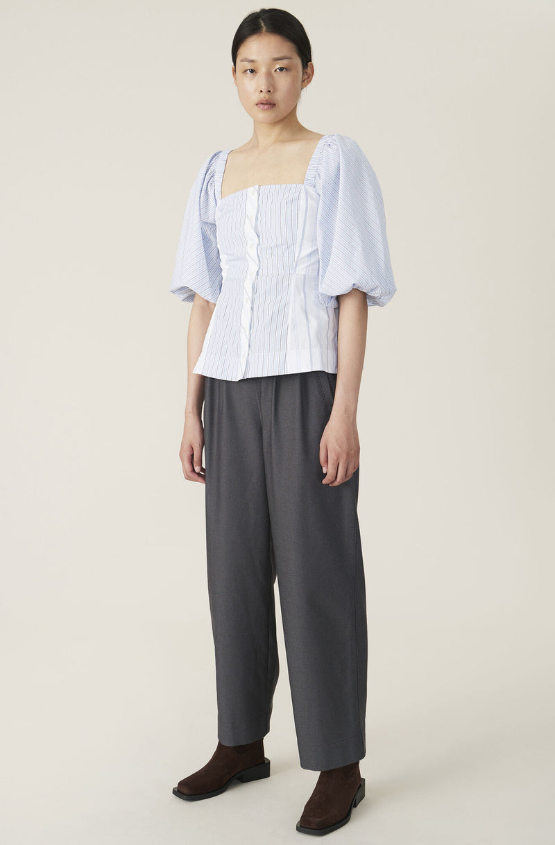 Ganni Shirting Cotton Top - Pale Blue @ Hero Shop SF