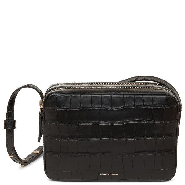 Double Zip Crossbody - Embossed Croc