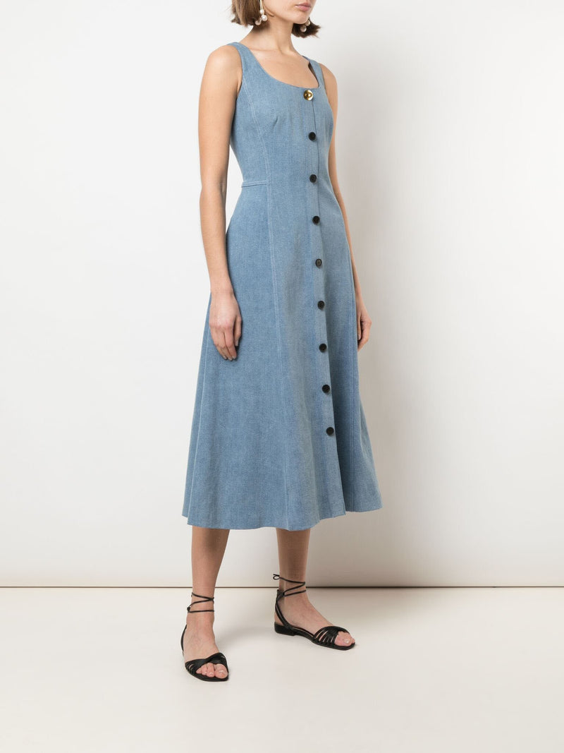 Adam Lippes Stretch Denim Flare Dress