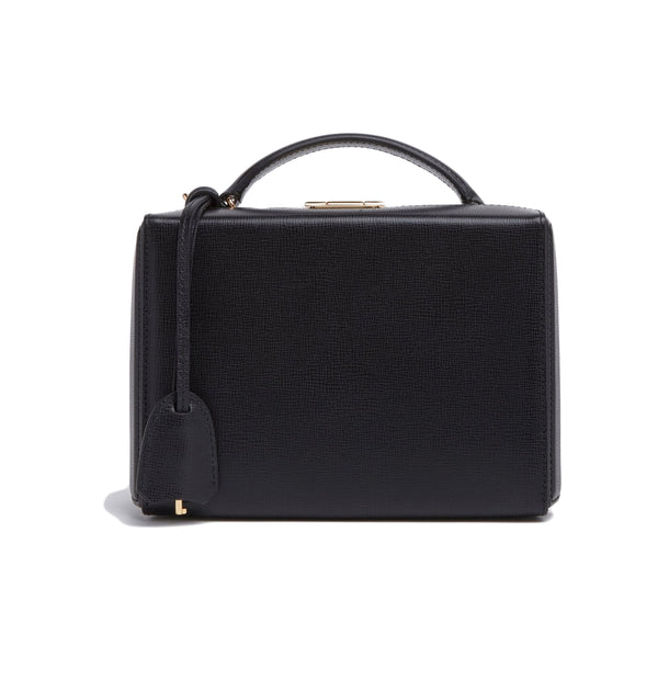 Grace Small Box Bag - Black Saffiano