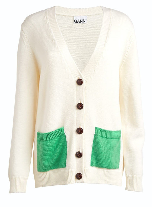 Ganni Wool Knit Cardigan Egret @ Hero Shop SF