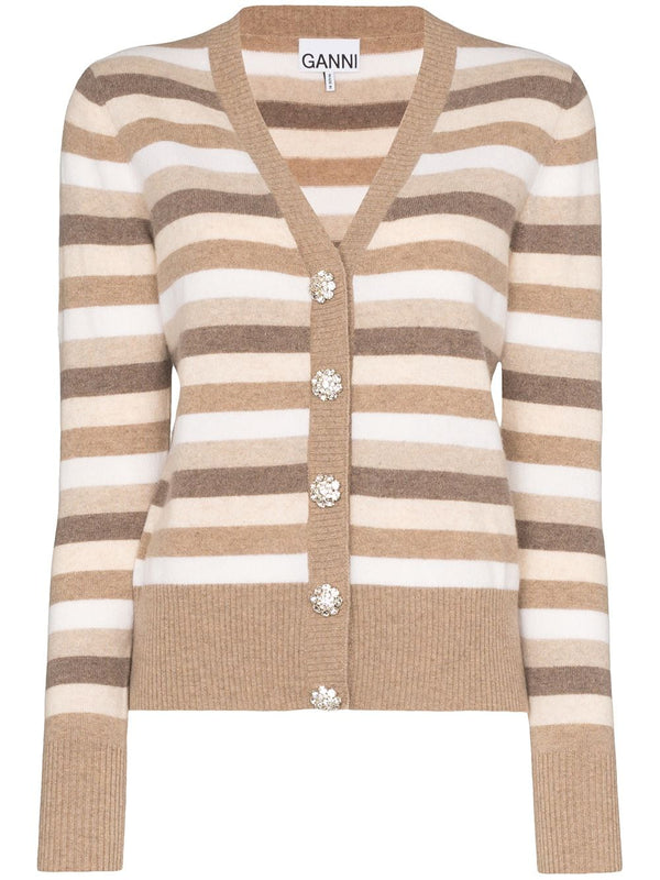 Ganni Cashmere Striped Knit Cardigan - Tannin @ Hero Shop SF