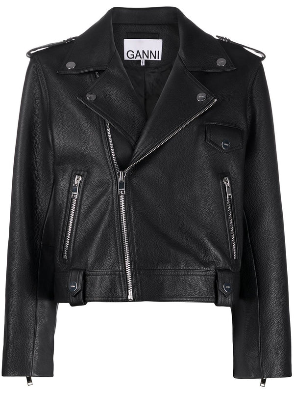 Ganni Leather Moto Jacket - Black @ Hero Shop SF