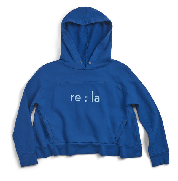 re:la Hockney Cropped Hoodie - Blue @ Hero Shop SF