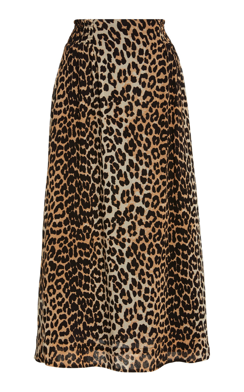 Ganni Printed Georgette Skirt - Leopard @ Hero Shop