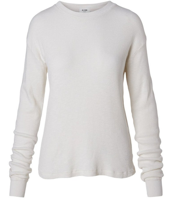 Re/Done Thermal Long Sleeve Tee - Vintage White @ Hero Shop SF