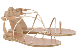 Ancient Greek Sandals Meloivia - Natural/Metallic
