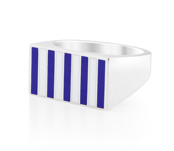 Jessica Biales Striped Signet Ring