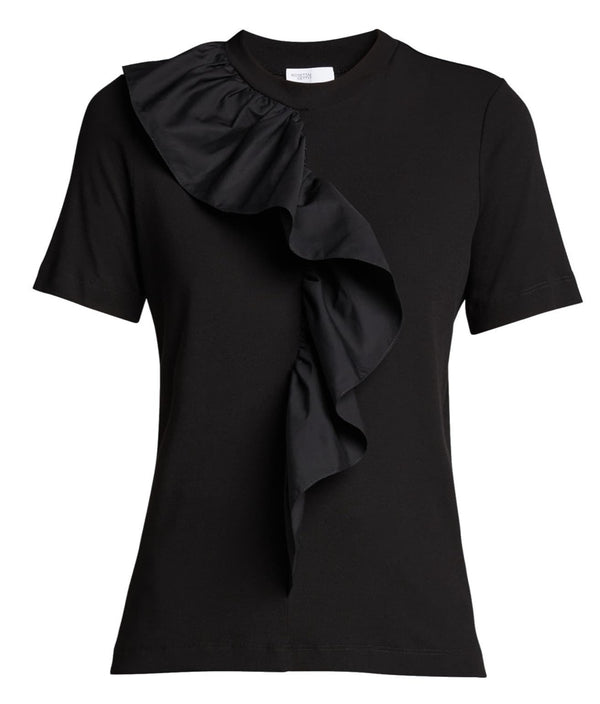 Rosetta Getty Ruffle Front T-Shirt - Black @ Hero Shop