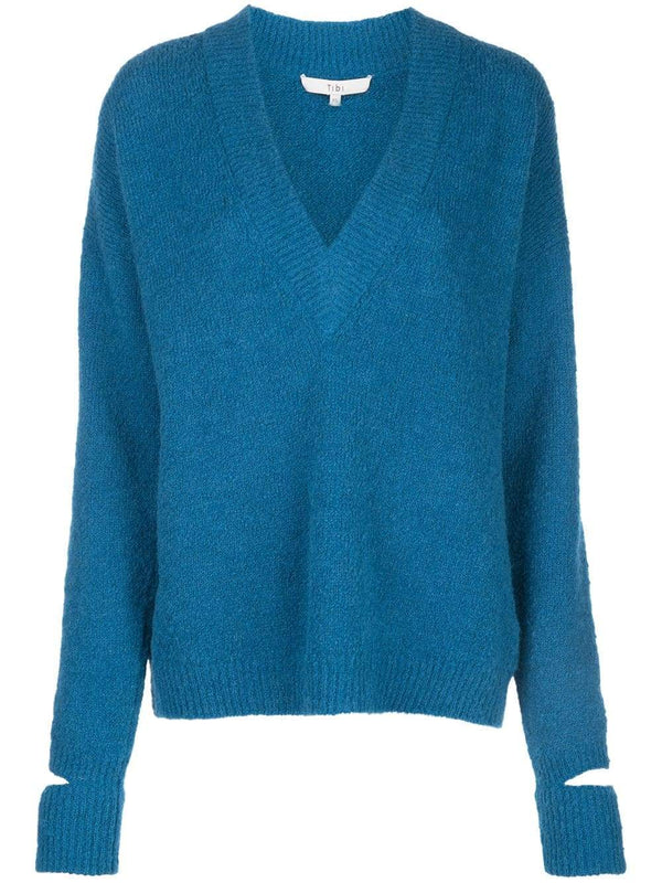 Tibi V Neck Pullover with Arm Bands