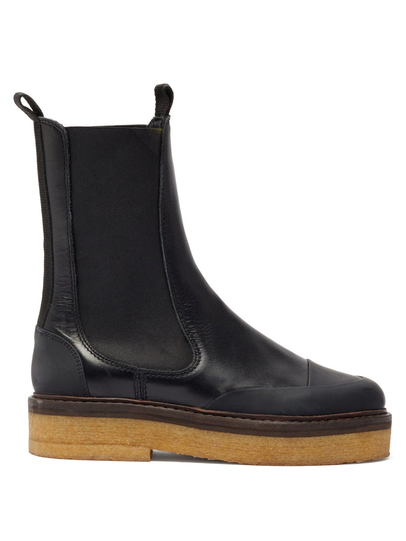 Ganni Crepe-Sole Leather Chelsea Boots