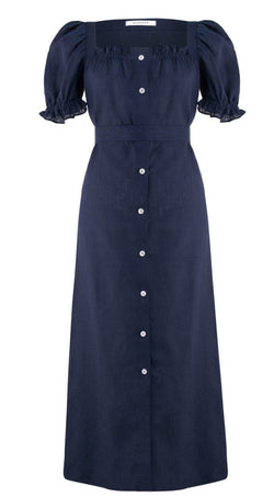 Sleeper Brigitte Linen Maxi Dress - Navy @ Hero Shop SF