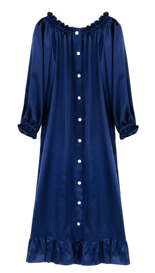 Sleeper Silk Loungewear Dress - Navy @ Hero Shop SF
