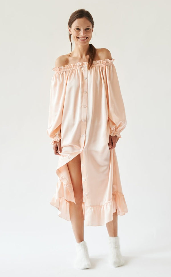 Sleeper Silk Loungewear Dress - Peach @ Hero Shop