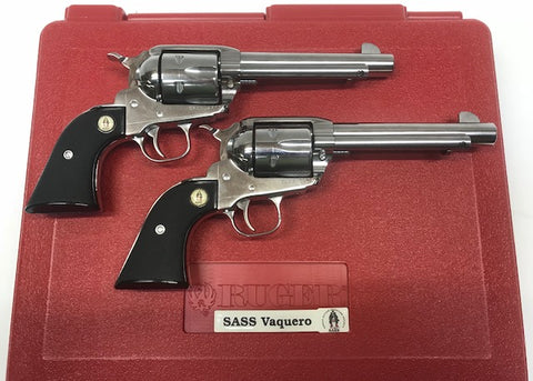 Ruger New Vaquero SASS 45 colt Stainless Pair of Revolvers  Preowned