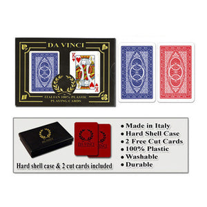 Da Vinci Route Red/Blue Narrow Regular Index Playing Cards - Casino Supply