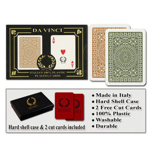 Da Vinci Casino Club Brown/Green Narrow Regular Index Playing Cards - Casino Supply