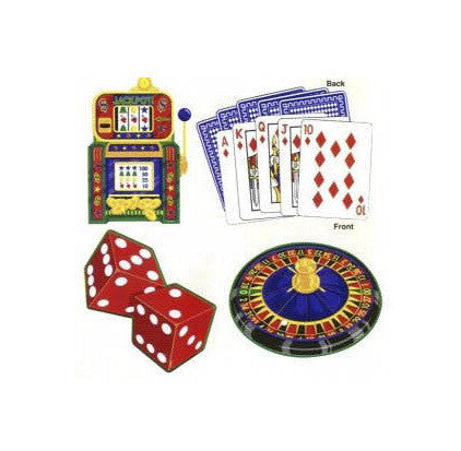 casino party assorted cutouts 18 inch pkg 4 casino supply - Casino Party Decorations