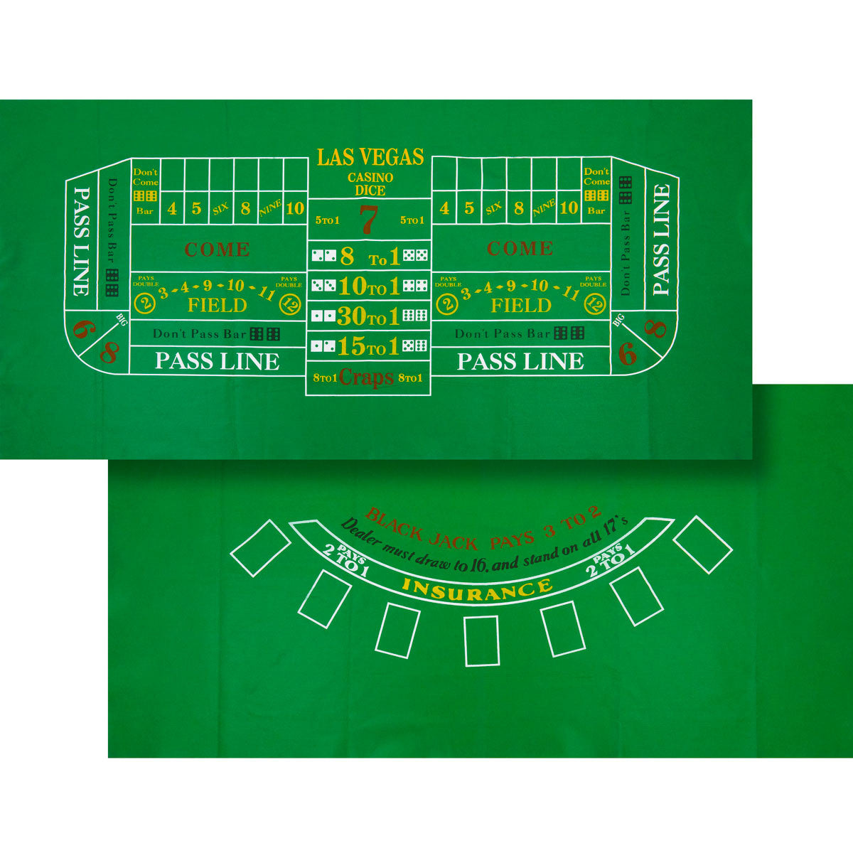 Blackjack / Craps Felt Layout