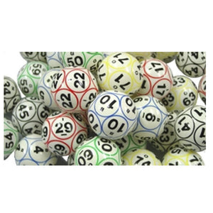 Bingo Balls - Colored & Coated 12 Sided Print Ping Pong Size - Casino Supply