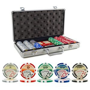 300 pc. 11.5g Royal Flush Poker Chip Set with Aluminum Case