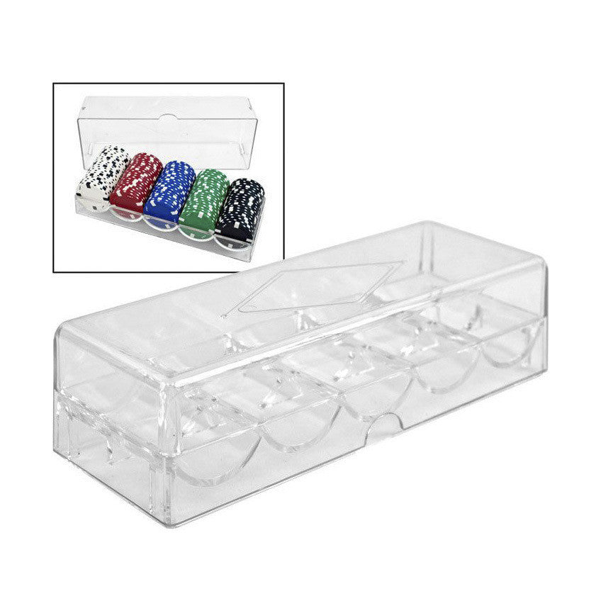 Clear Acrylic Poker Chip Rack and Cover (5 Row / 100 Chip) - Casino Supply