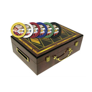 Hi-Gloss Design Poker Chip Case (4 Diamonds) and 500 Showgirl Poker Chips - Casino Supply