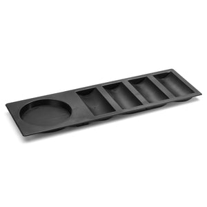 Black Straight Insert Poker Chip Tray with Cup Holder (4 Row / 100 chip)