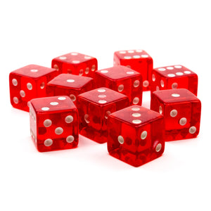 Economy Dice Transparent 18mm - 10 Pack / Red