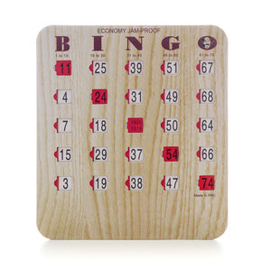 Bingo Shutter Slide Cards - 5 Ply Wood Grain Finish