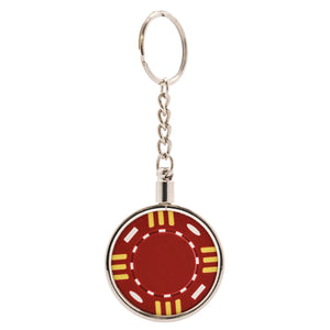 Chrome Plated Poker Chip Key Chain Holder
