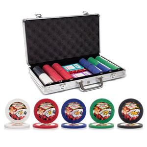300 pc. 7.5g Showgirl Poker Chip Set with Aluminum Case