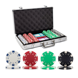 300 pc. 11.5g Dice Rim Poker Chip Set with Aluminum Case