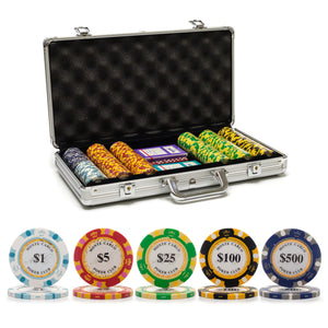 300 pc. 13.5g Monte Carlo Poker Chip Set with Aluminum Case
