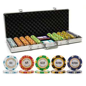 500 pc. 13.5g Monte Carlo Poker Chip Set with Aluminum Case