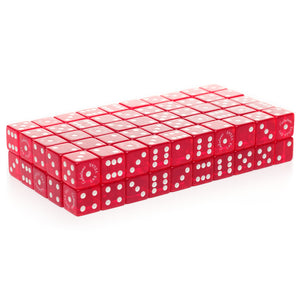 Economy Dice Transparent 18mm - 100 Pack / Red