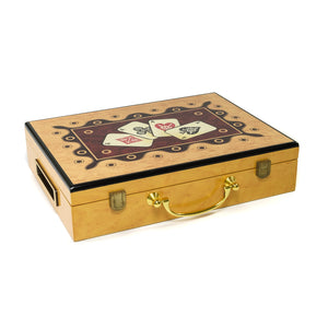 Hi-Gloss Wooden 300 Chip Poker Case (4 Ace Design)