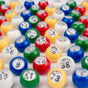 Plastic Colored Windowed Bingo Balls (Set of 75) 7/8 inch - Casino Supply - 1