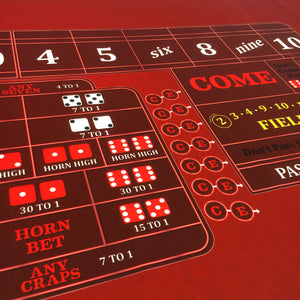 Classic Craps Layout - RED - Casino Supply - 5