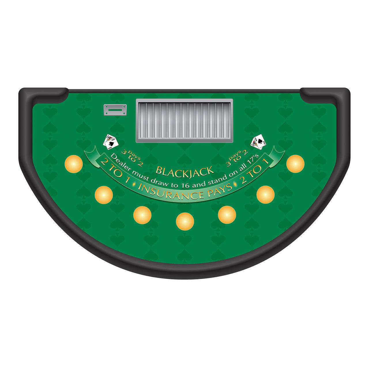 Blackjack table top view - Spade Design Blackjack Layout Green Casino Supply 1