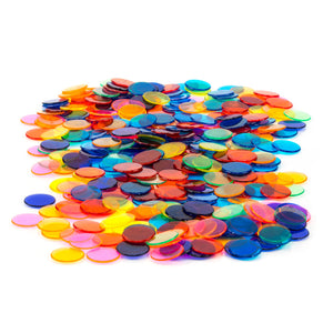 500 3/4 inch Assorted Colored Transparent Bingo Chips (Markers) - Casino Supply
