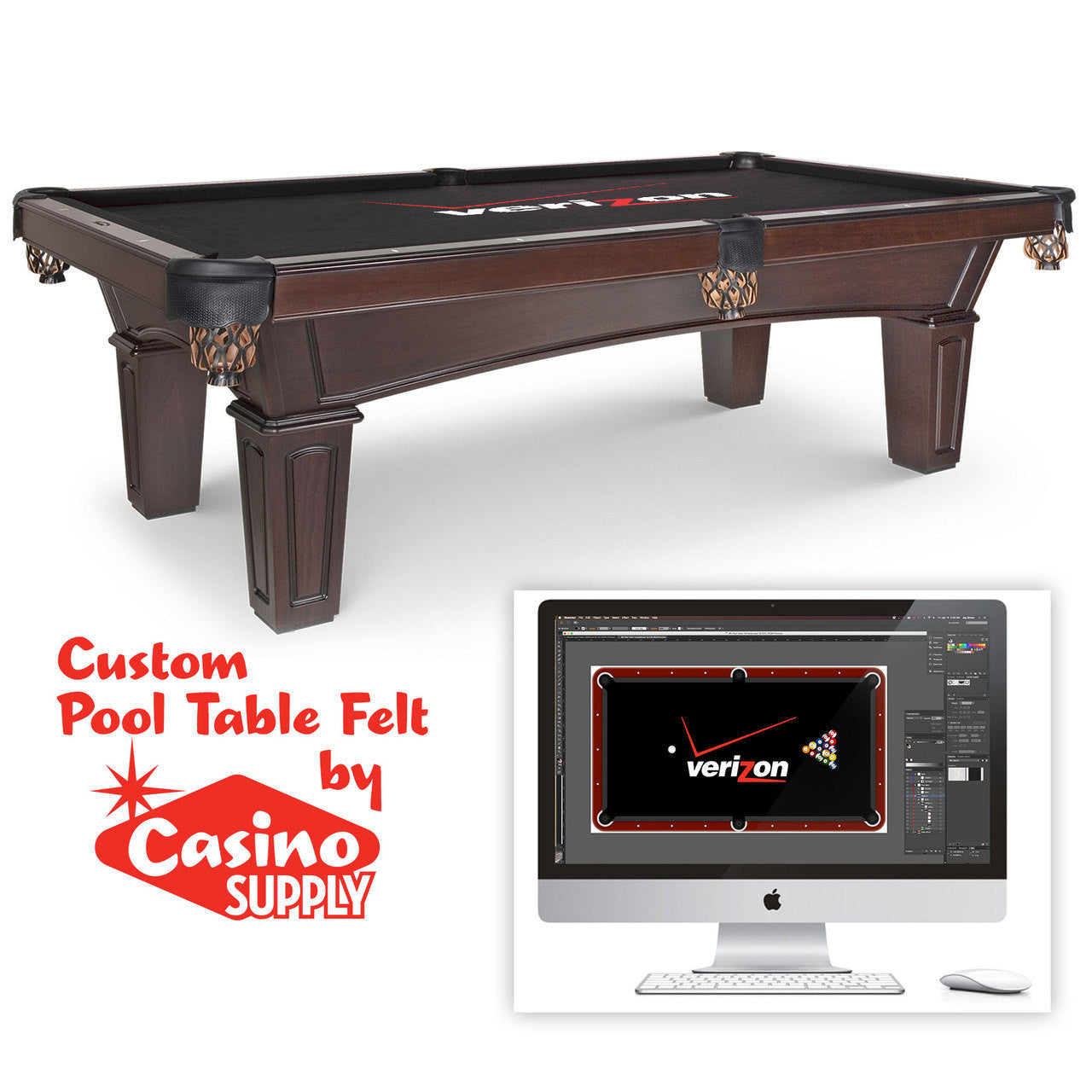 Custom pool table felt with matching rails casino supply for How to build a billiard table