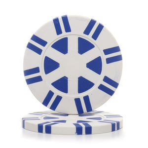 8 Gram 16 Striped Poker Chips (25/Pkg)  Recessed Center