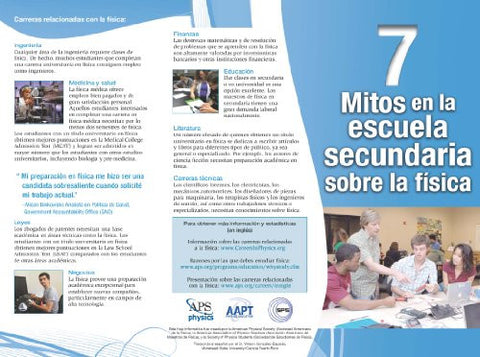 7 Myths about High School Physics Brochure (Spanish)