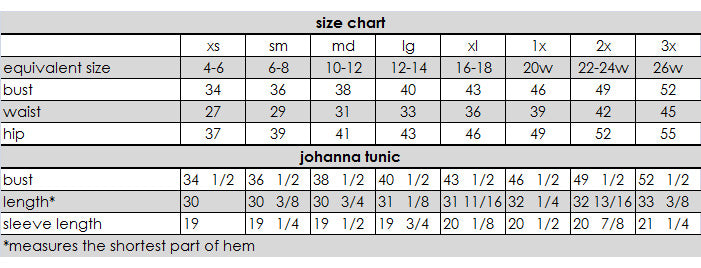 Johanna Tunic Measurements