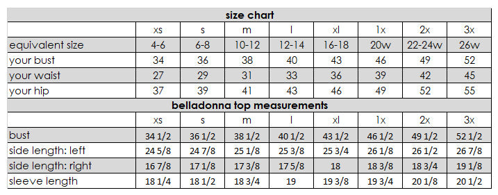 Belladonna Top Measurements