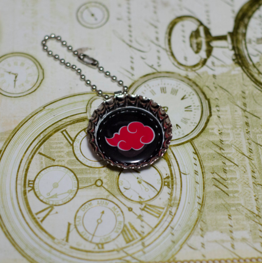 "Bottle Cap charm, alone, key chain, necklace, ""Akatsuki Symbol"" high quality print, Manga Inspired"
