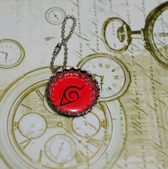 "Bottle Cap charm, alone, key chain, necklace, ""Leaf Village Symbol"" quality print, Manga Inspired"