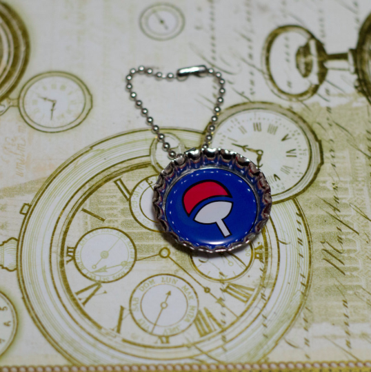 "Bottle Cap charm, alone, key chain or necklace, ""Uchiha Symbol"" high quality print, Manga Inspired"